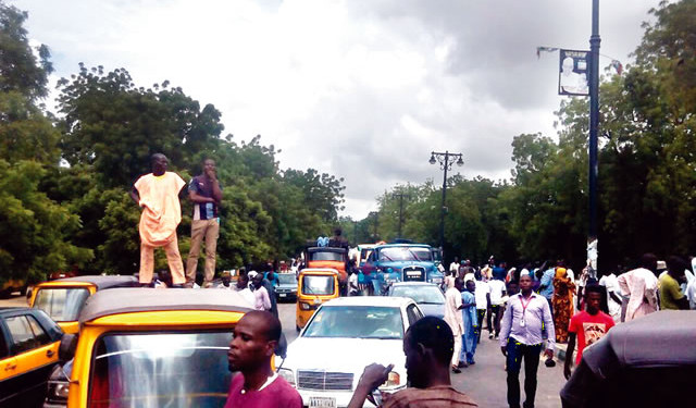 Gridlock-on-a-road-in-Maiduguri-as-a-result-of-a-protest-by-Internally-Displaced-Persons...-on-Thursday