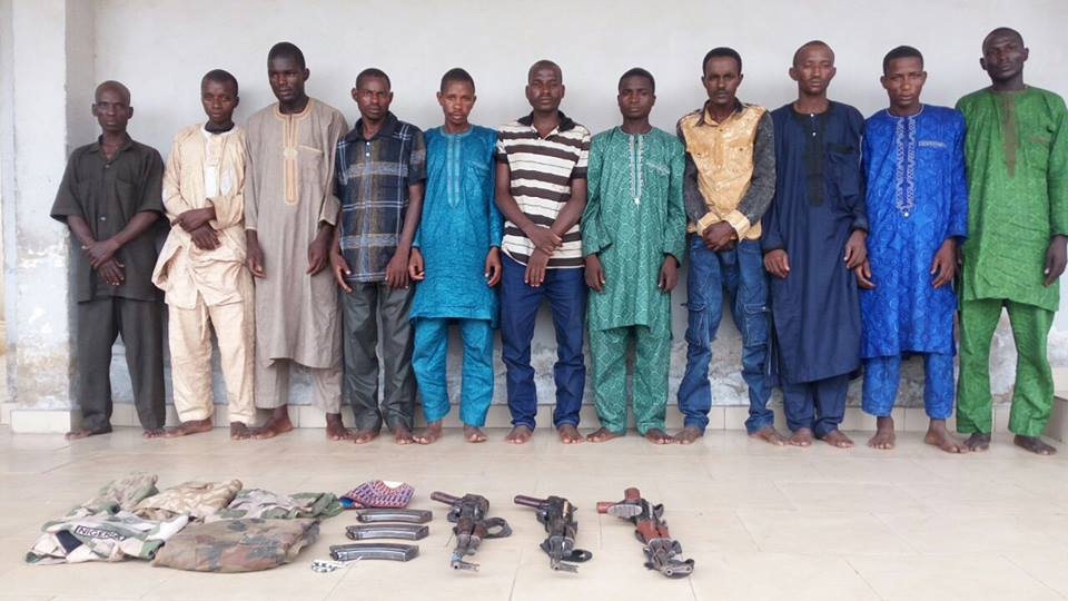 Picture: The Nigeria Police Force (NPF) paraded eleven suspected kidnappers of the Sierra Leonean Deputy High Commissioner in Nigeria, Major Gen. Alfred Claude-Nelson, who was kidnapped along Kaduna-Abuja highway on June 30. Source: NPF
