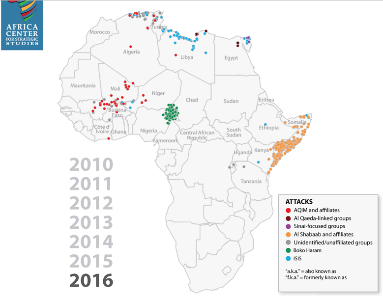Africa Center for Strategic Studies (ACSS) 2016 Map of African militant Islamist groups. Source: Africacenter.org