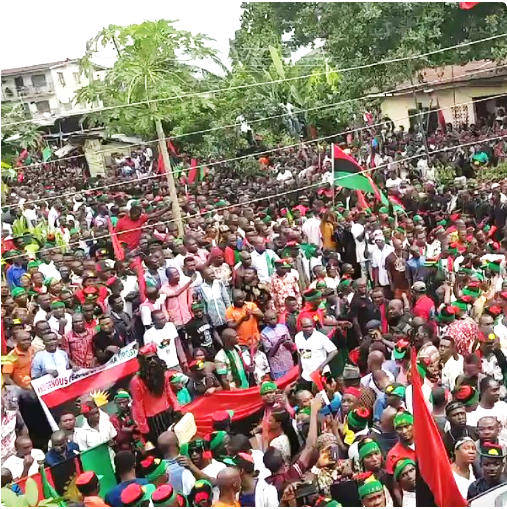 Picture: 28 June 2017, a large crowd gathers to listen to IPOB leader Nnamdi Kanu in Umuahia, Abia State