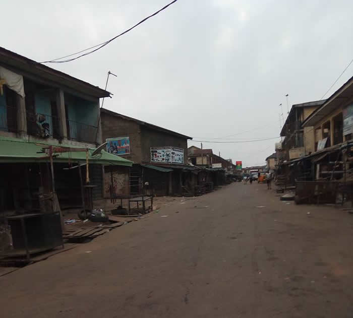 "Picture: New Market Owerri is empty as residents observe a sit-at-home directive by Biafra activists such the Indigenous People of Biafra (IPOB), amongst others. On May 30, 2017, a 50 years anniversary of the declaration of Biafra Republic by late Colonel Chukwuemeka Odumegwu Ojukwu took place. AFP reported that ""Biafraland was shutdown for the Biafra anniversary""."